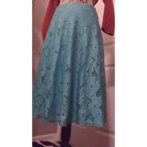 Notations Skirts - Blue Floral Midi-Skirt